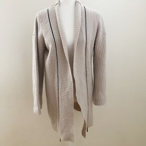 ELIE TAHARI Cream Double Zipper Shawl Cardigan S